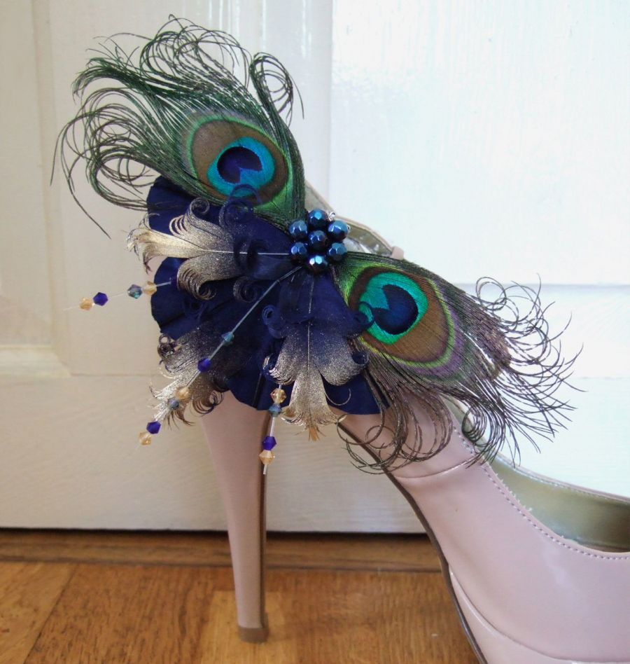 Bridal Navy Gold Curled Nagoire Feathers Swarovski Crystals Wedding Peacock Shoe Clips